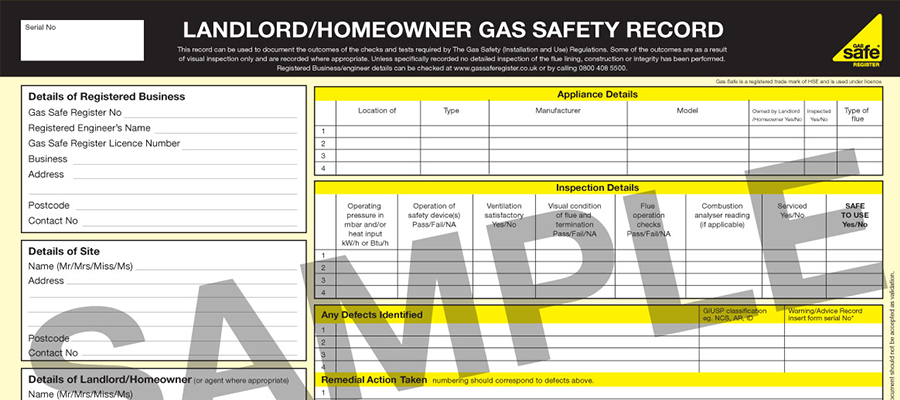 Landlord Certificate example